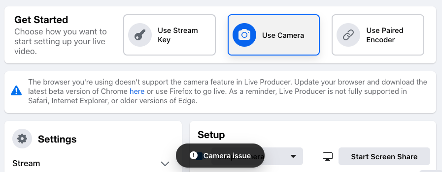 Facebook Live Chrome Issue - Camera Issue